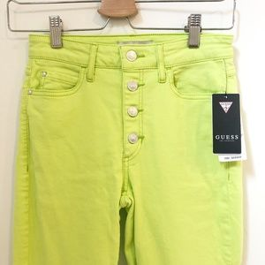 Guess 1981 High Rise Button Skinny Jeans Neon